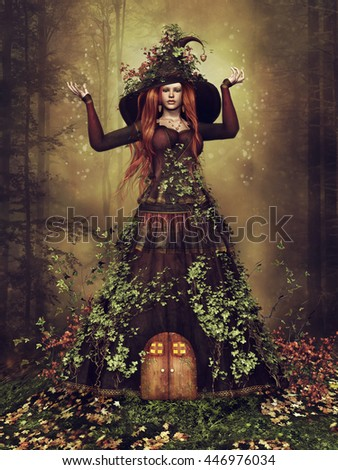 Fantasy girl with an ivy dress and fancy hat standing in an autumn forest. 3D illustration. - stock photo