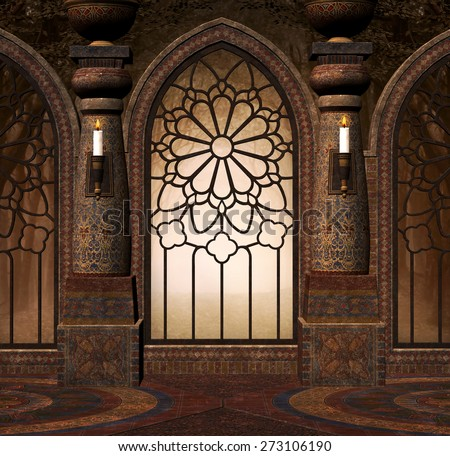 Fantasy gothic gate - stock photo