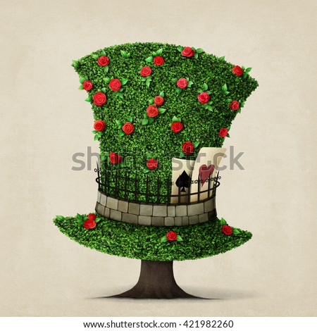 Fantasy green hat in the shape of  tree with flowers.  - stock photo