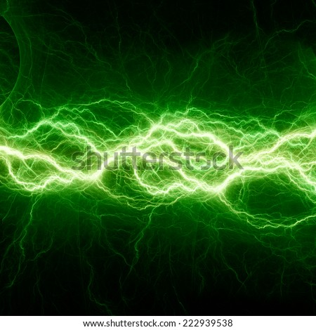Fantasy green lightning - stock photo