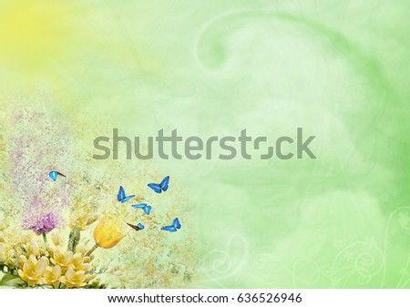 Fantasy green spring background with blue butterfly.