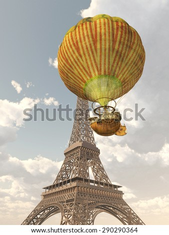 Fantasy Hot Air Balloon and Eiffel Tower Computer generated 3D illustration - stock photo