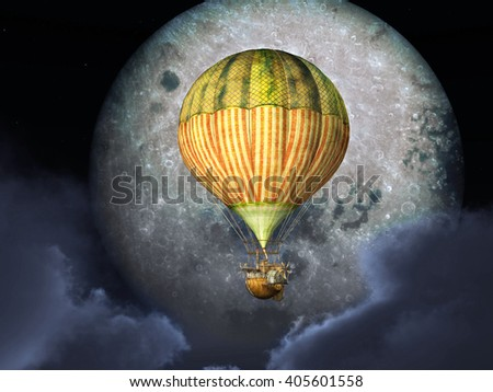 Fantasy hot air balloon in front of the moon Computer generated 3D illustration