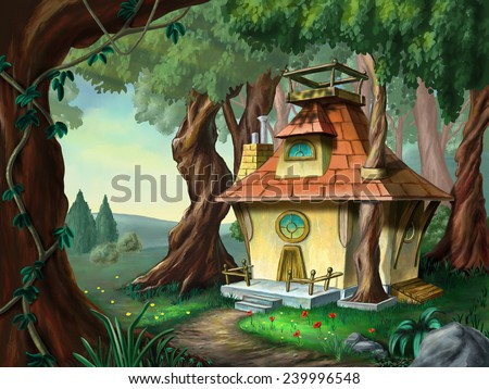 Fantasy house in a wood. Digital illustration. - stock photo