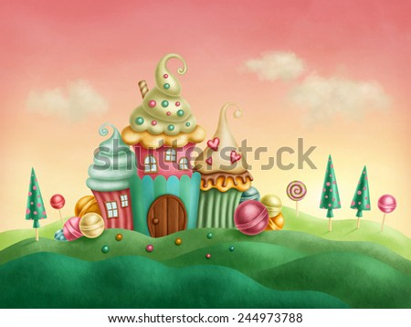 Fantasy houses from the cupcakes - stock photo