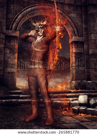 Fantasy hunter with fiery bow and arrows standing in ruins of a castle - stock photo