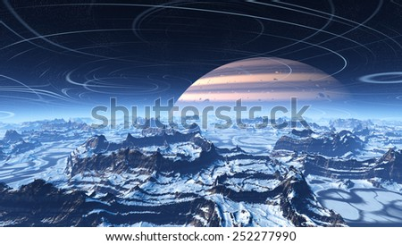 Fantasy ice world with huge planet in a starry sky - stock photo