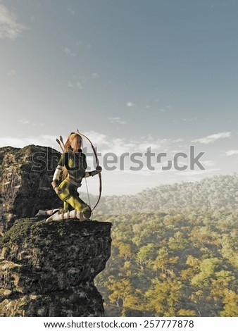 Fantasy illustration of a blonde female elf archer with bow and arrows dressed in green and brown, kneeling on a rocky cliff and keeping watch above the forest, 3d digitally rendered illustration - stock photo
