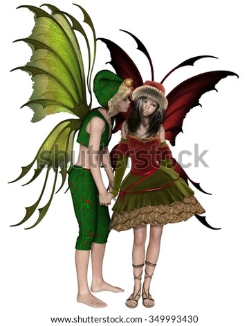 Fantasy illustration of a Christmas fairy or elf boy stealing a kiss from a shy fairy girl, 3d digitally rendered illustration - stock photo