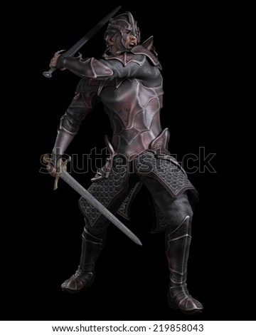 Fantasy illustration of a dark knight with two swords on a black background, 3d digitally rendered illustration