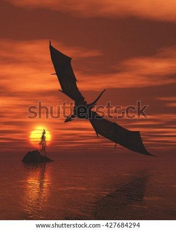 Fantasy illustration of a dragon flying low over a calm ocean at sunset, digital illustration (3d rendering) - stock photo