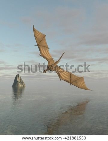 Fantasy illustration of a dragon flying low over a calm ocean in daylight, digital illustration (3d rendering)  - stock photo