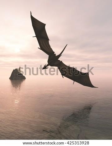 Fantasy illustration of a dragon flying low over a calm ocean in pink evening light,digital illustration (3d rendering) - stock photo