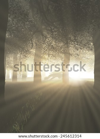Fantasy illustration of a dragon prowling through a misty forest with shafts of bright sunlight, 3d digitally rendered illustration - stock photo