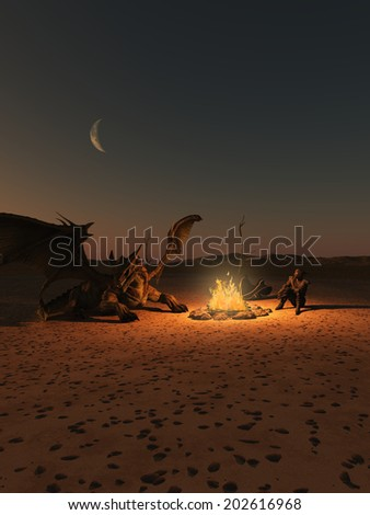 Fantasy illustration of a dragon rider and red dragon camped by an open fire in the desert, 3d digitally rendered illustration - stock photo