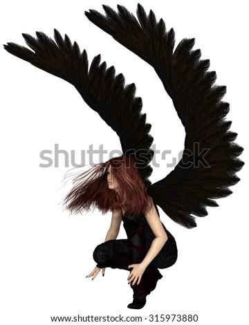 Fantasy illustration of a female urban guardian angel, 3d digitally rendered illustration - stock photo