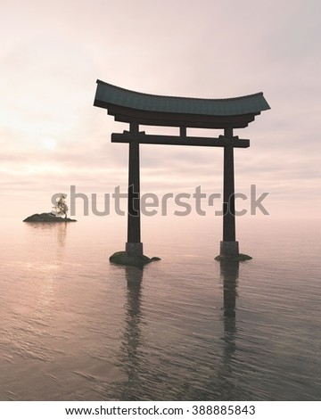 Fantasy illustration of a floating Japanese Torii Gate in pink evening light, marking the entrance to a Shinto Shrine or sacred space, 3d digitally rendered illustration