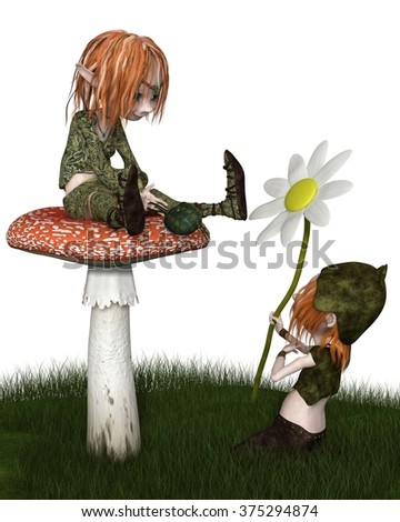 Fantasy illustration of a Goblin or small Troll kneeling in the grass to give his lady a flower gift for Valentine's Day, 3d digitally rendered illustration - stock photo