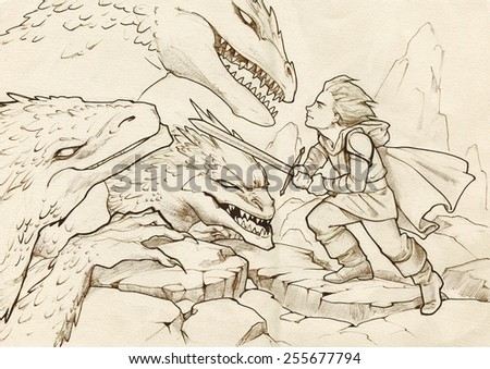 Fantasy illustration of a hero going to fight dragons with his sword - stock photo