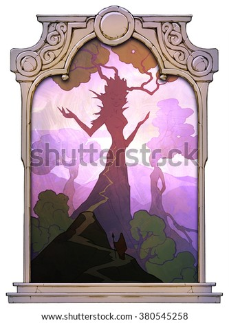 Fantasy illustration of a majestic giant dryad creatures framed with a stone decorated hand drawn arch - stock photo