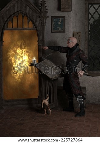 Fantasy illustration of a sorcerer casting a spell to open a magic portal in his laboratory with help from a tiny homunculus, 3d digitally rendered illustration on a black background - stock photo