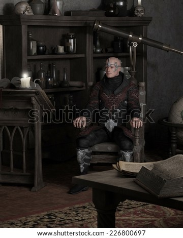 Fantasy illustration of a sorcerer sitting in his study and thinking, 3d digitally rendered illustration
