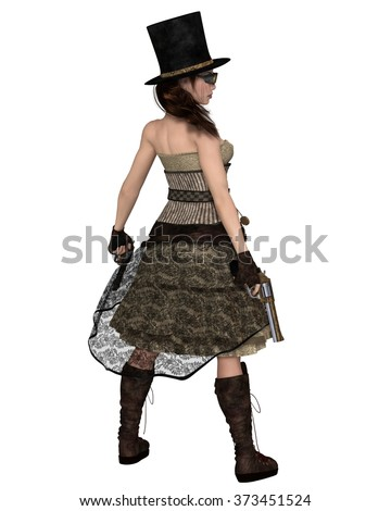 Fantasy illustration of a Steampunk Woman with stovepipe hat and two revolvers, back view, 3d digitally rendered illustration