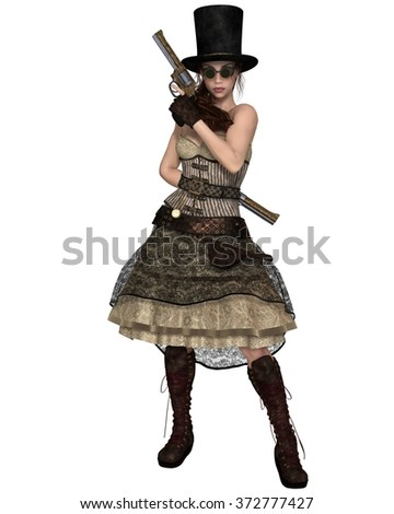Fantasy illustration of a Steampunk Woman with stovepipe hat, standing with two revolvers, 3d digitally rendered illustration