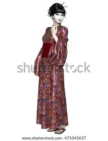 Fantasy illustration of a young Japanese woman wearing geisha makeup and a flower pattern kimono, 3d illustration (3d rendering)