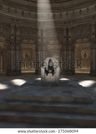 Fantasy illustration of the King of the Gnomes sitting on his throne in the great hall, 3d digitally rendered illustration - stock photo