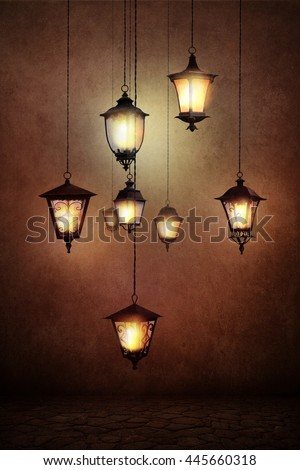 Fantasy illustration or poster, or background for  card with  street lamp - stock photo