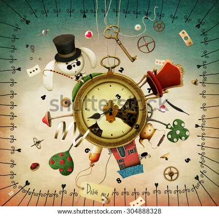 Fantasy illustration with Clock and fabulous items - stock photo