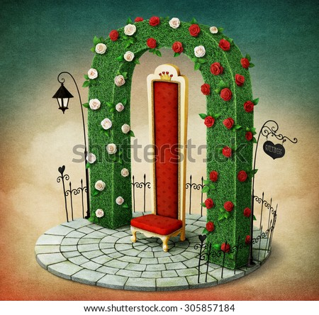 Fantasy illustration with green arch and  red royal chair  - stock photo