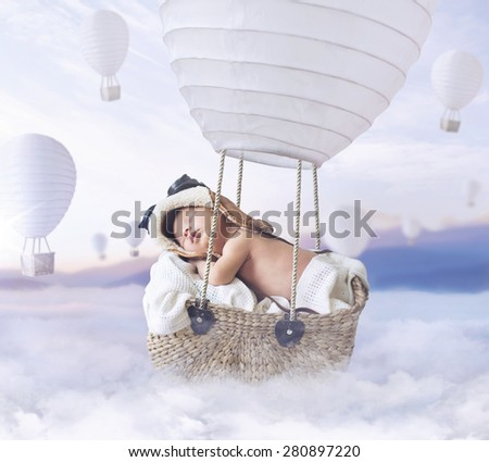 Fantasy image of a newborn child - stock photo