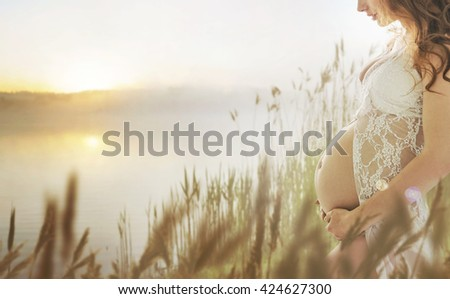 Fantasy image of a pregnant woman - stock photo