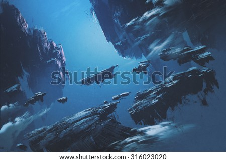 fantasy island floating in the sky,illustration painting - stock photo