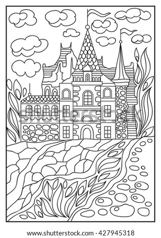 Fantasy landscape. Fairy tale castle, old medieval town, park trees. Hand drawn sketch. Coloring book page. Suitable for invitation, flyer, sticker, poster, banner, card, label, cover, web.  - stock photo