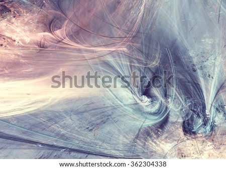 Fantasy landscape in soft blue and pink colors. Modern futuristic painting background with lighting effect. Fractal artwork for creative graphic design
