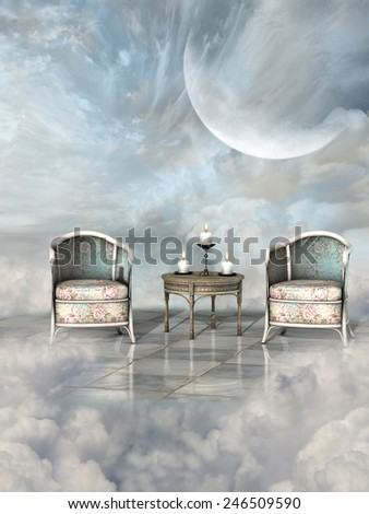 Fantasy Landscape in the sky with candles and armchair