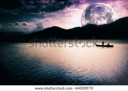 Fantasy landscape - moon, lake and fishing boat - stock photo