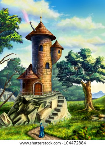 Fantasy landscape with a mage tower. Digital illustration. - stock photo