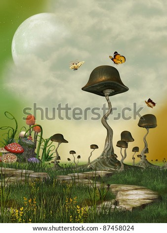 Fantasy Landscape with butterfly and mushrooms - stock photo