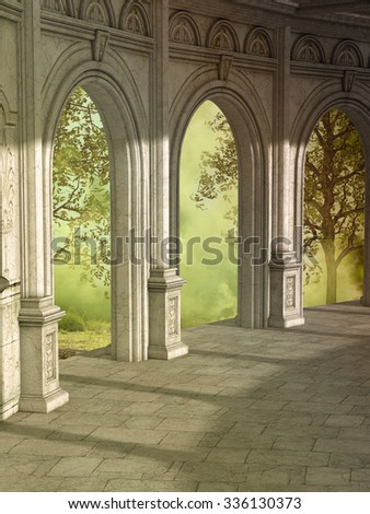 Fantasy landscape with forest outside and corridor