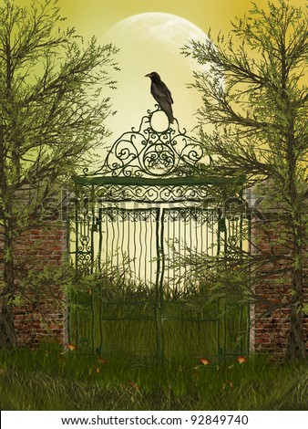 fantasy landscape with gateway and old raven - stock photo