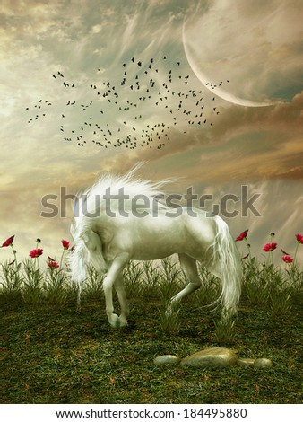 Fantasy landscape with horse flowers and birds - stock photo