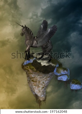 Fantasy Landscape with pegasus and floating island - stock photo
