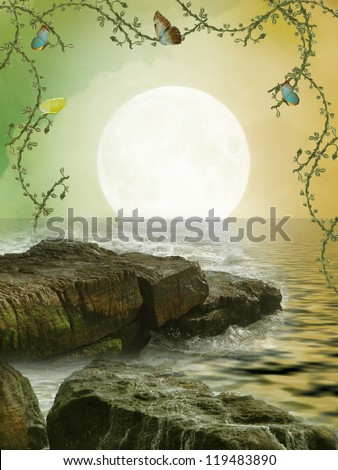 Fantasy Landscape with stones in the sea - stock photo