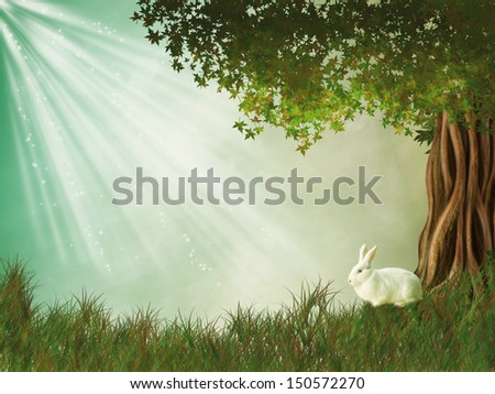 Fantasy landscape with tree and rabbit