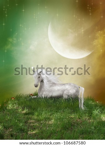 Fantasy landscape with unicorn and a big moon - stock photo