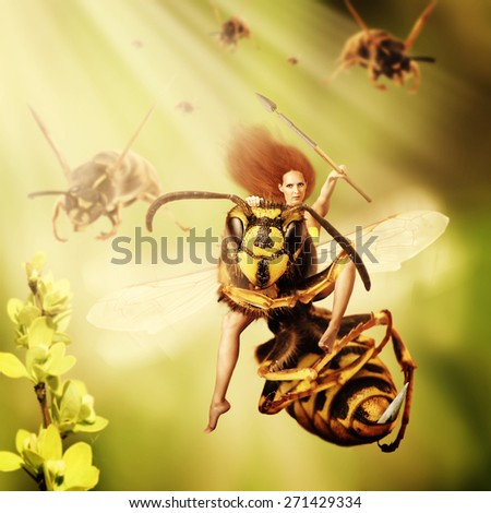 Fantasy magic world. Woman sits astride a wasp and controls an army of wasps. Focus on a girl eyes - stock photo